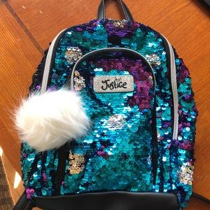 Justice sequin mini backpack - like new
